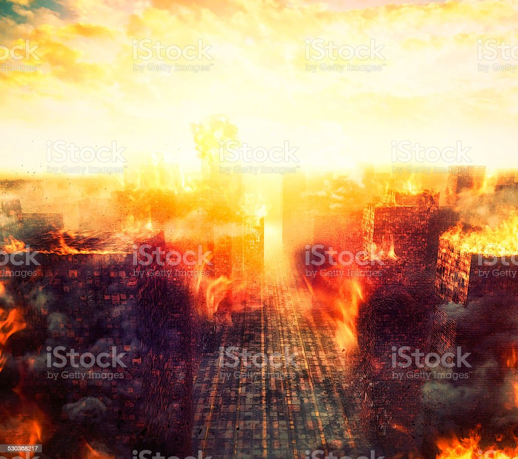Apocalypse, burning city, fire, explosion stock photo