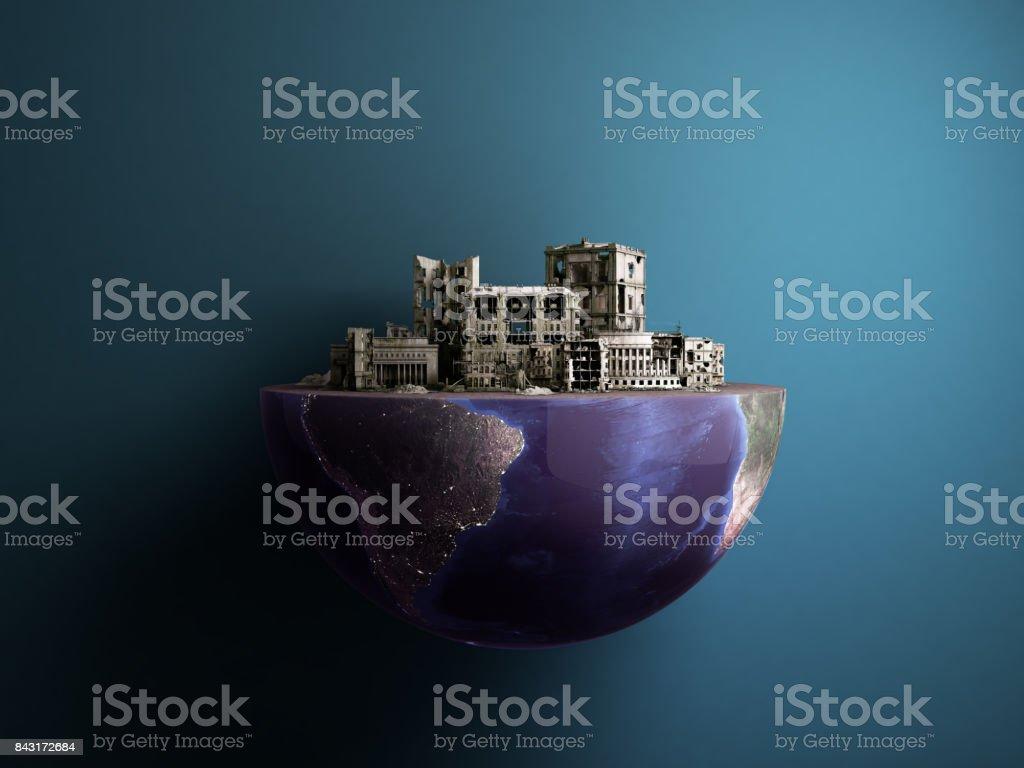 Apocalypse city in half of planet arse Apocalypse concept 3d rendering stock photo