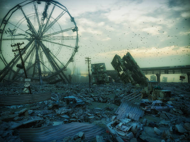 apocalypse city landscape. - depredation stock pictures, royalty-free photos & images