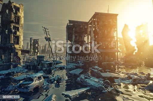 Apocalypse flooding city view sunset. 3d rendering concept