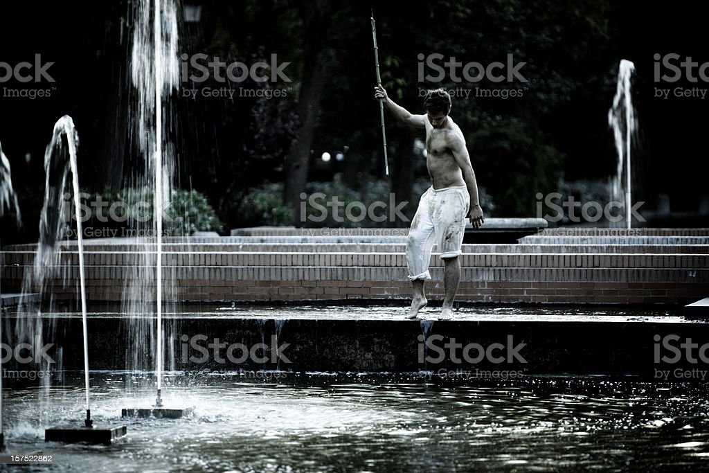 Apocalypse - hunting in drained fountain royalty-free stock photo