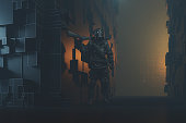 Apocalypse street with mercenary stalker. Entirely 3D generated image.