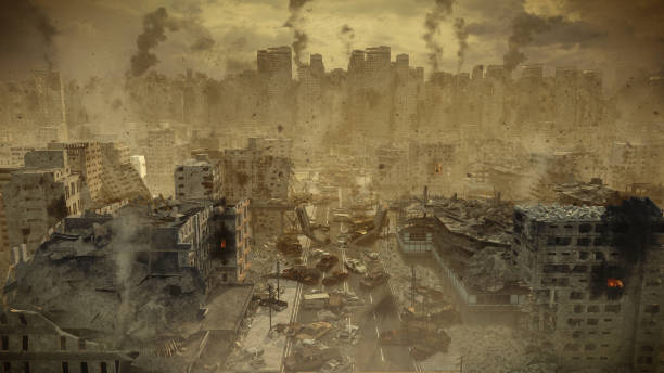 apocalypse survivor concept, ruins of a city. apocalyptic landscape - depredation stock pictures, royalty-free photos & images
