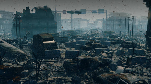 apocalypse survivor concept, ruins of a city. apocalyptic wasteland landscape - depredation stock pictures, royalty-free photos & images