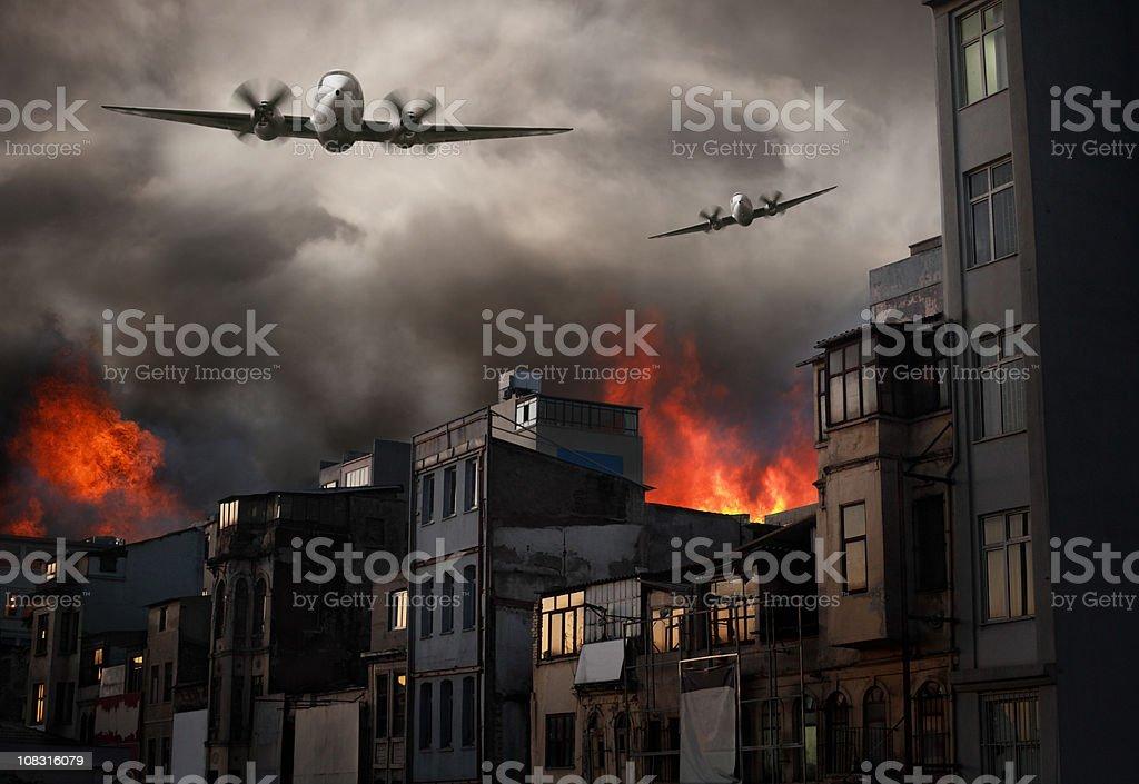 Apocalyptic Air Raid on Burning Town stock photo