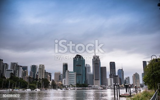 A photo of a city before a big storm
