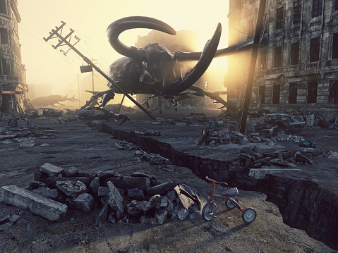 Ruined city by giant insects. Apocalyptic fantasy concept. 3D rendering