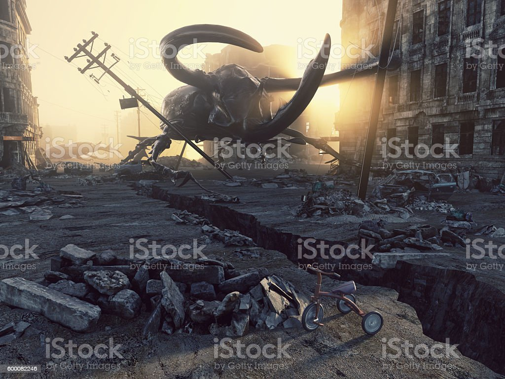 Apocalyptic giant insects stock photo