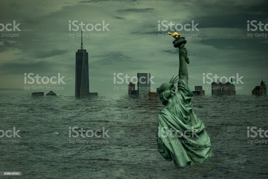 apocalyptic image of New york flooded and under water stock photo