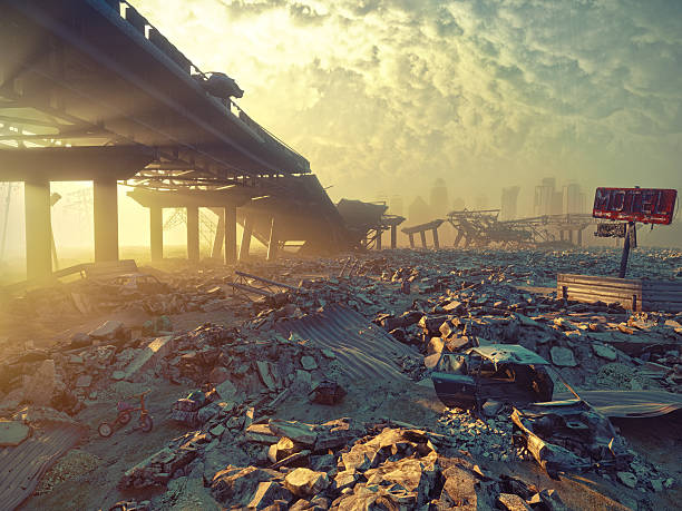 apocalyptic landscape - depredation stock pictures, royalty-free photos & images
