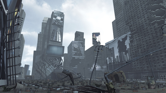 istock Apocalyptic ruined Time Square New York Manhattan. 3D rendering 643654612