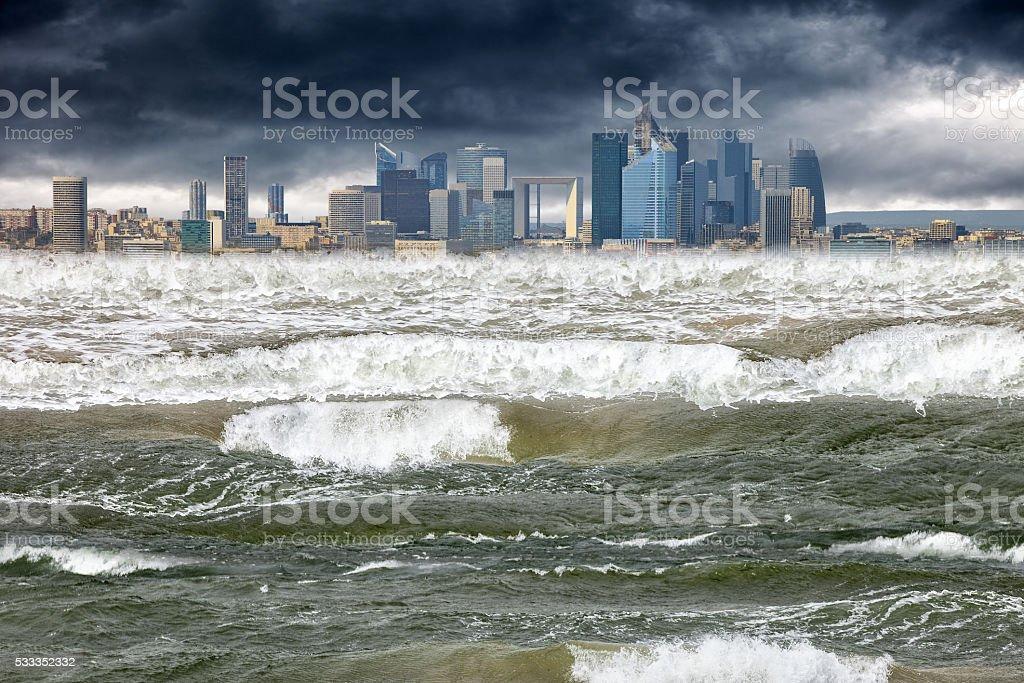 Apocalyptic scene tsunami stock photo