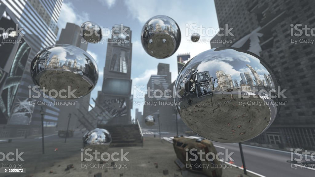 Apocalyptic silver spheres on Time Square New York Manhattan. stock photo