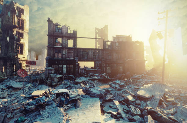 apocalyptic sunset. apocalyptic city sunset. Creative 3D illustration demolished stock pictures, royalty-free photos & images