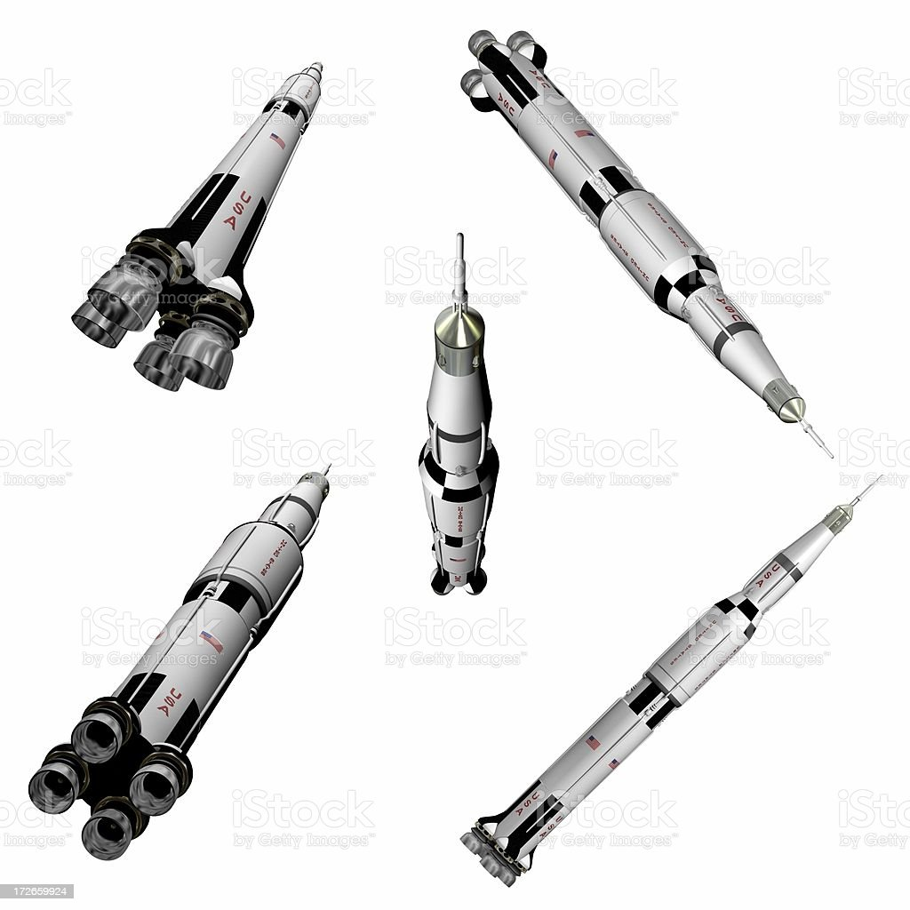 Apollo 11 Rocket Five Views (3D) stock photo