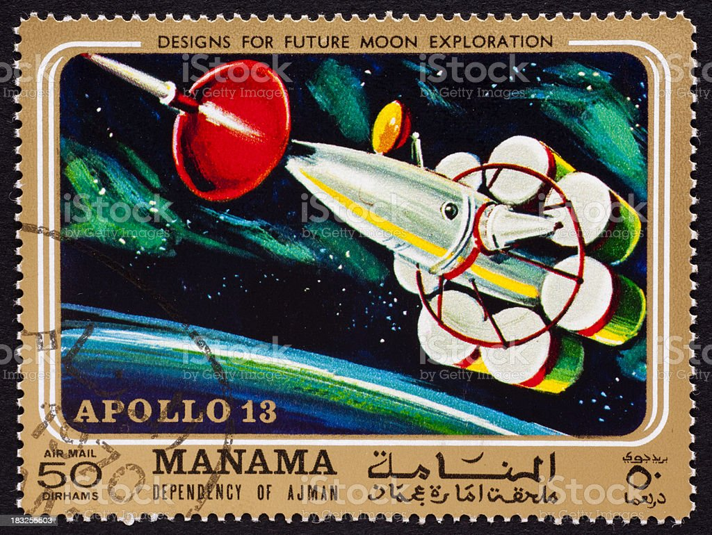 Apollo 13 mission on Manama stamp stock photo