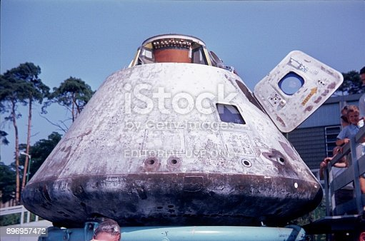 Berlin, Germany, 1969. The Apollo 8 capsule was exhibited to Berliners in the summer of 1969 in an American barracks in Berlin Zehlendorf.