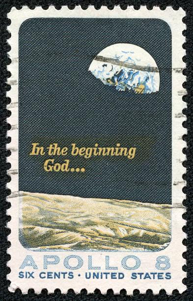 Apollo 8 - moon landing stamp 1969 stock photo