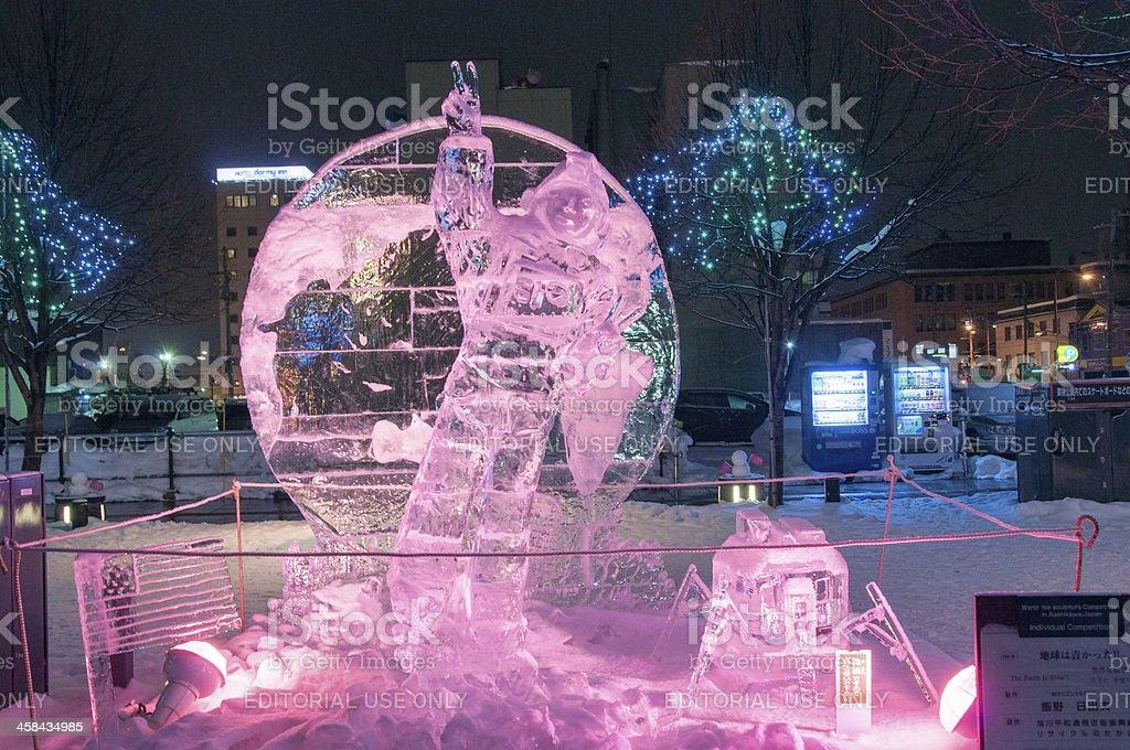 Apollo astronaut on moon sculpture at 45th Asahikawa Winter Festival stock photo