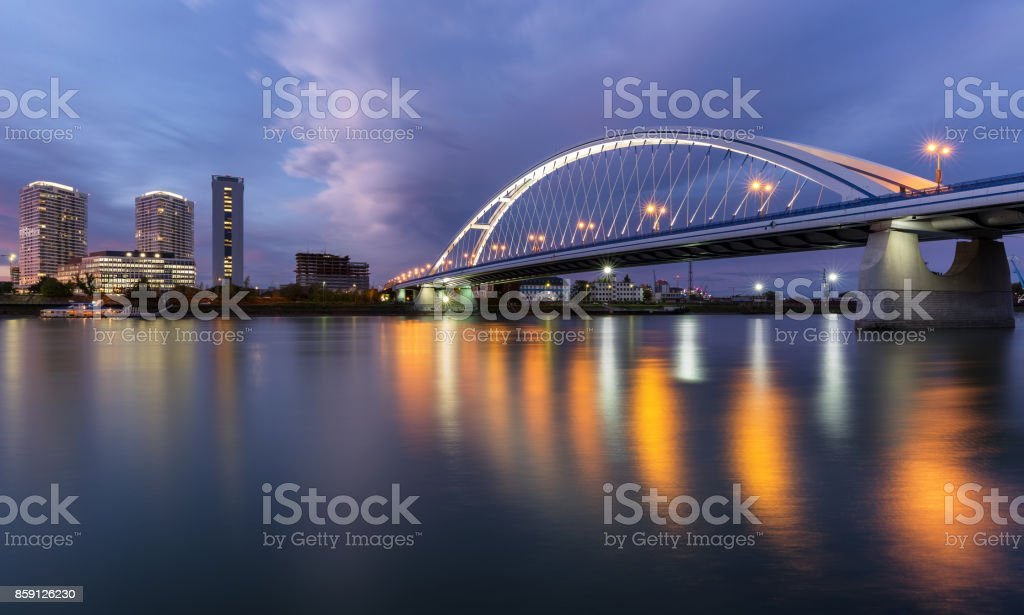 Apollo bridge over river Danube in Bratislava after the rain stock photo