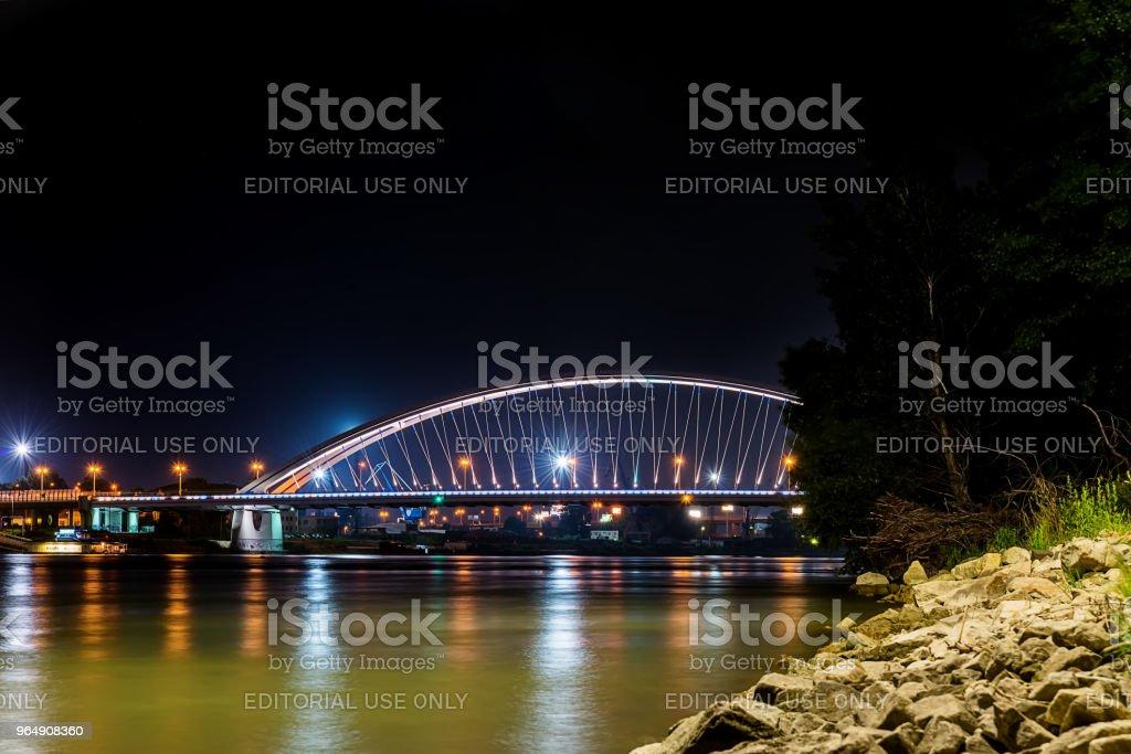 Apollo bridge over river Danube in Bratislava royalty-free stock photo