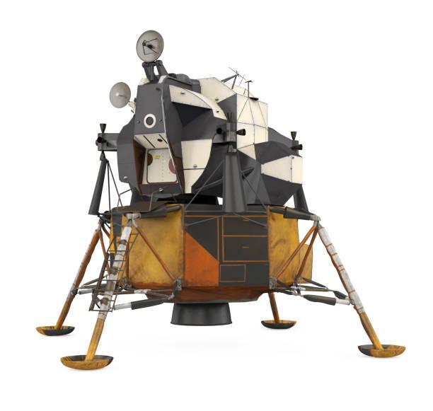 apollo lunar modul isoliert - mondlandefähre stock-fotos und bilder