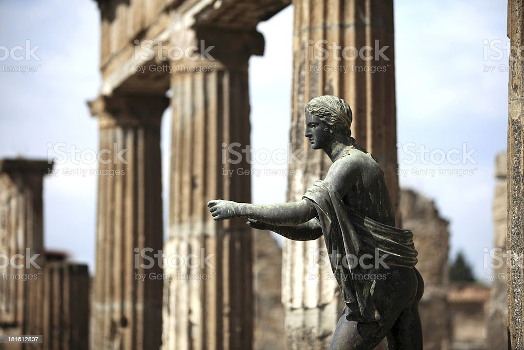 Apollo statue in Pompeii, Italy (apollo temple) stock photo