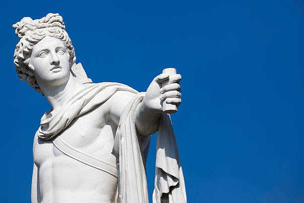 """Apollo statue """"Apollo Belvedere statue. Copy of antique 18th century italian marble statue, Drottningholm gardens."""" classical greek stock pictures, royalty-free photos & images"""