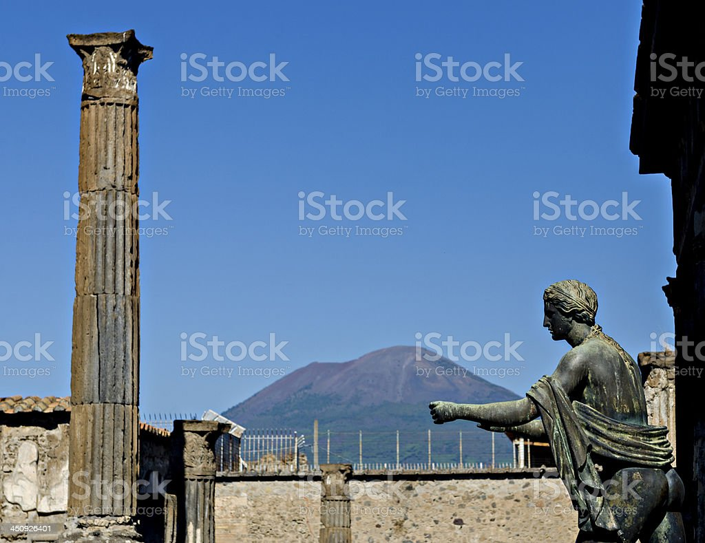 Apollo Temple and Mount Vesuvius in the background, Pompeii royalty-free stock photo