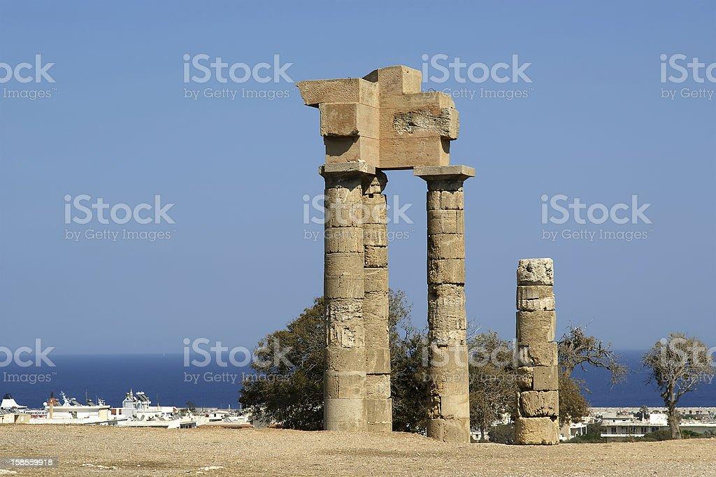 Apollo 관자놀이 유클리드의 아크로폴리스 of 로데스발 그리스 royalty-free 스톡 사진