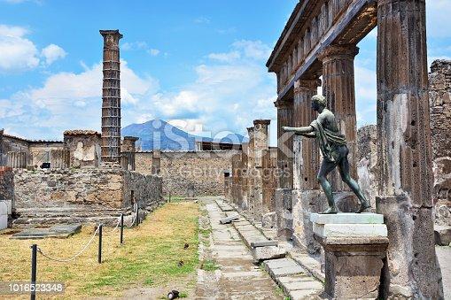 Ruins of Apollo Temple in Pompeii, Naples, Italy