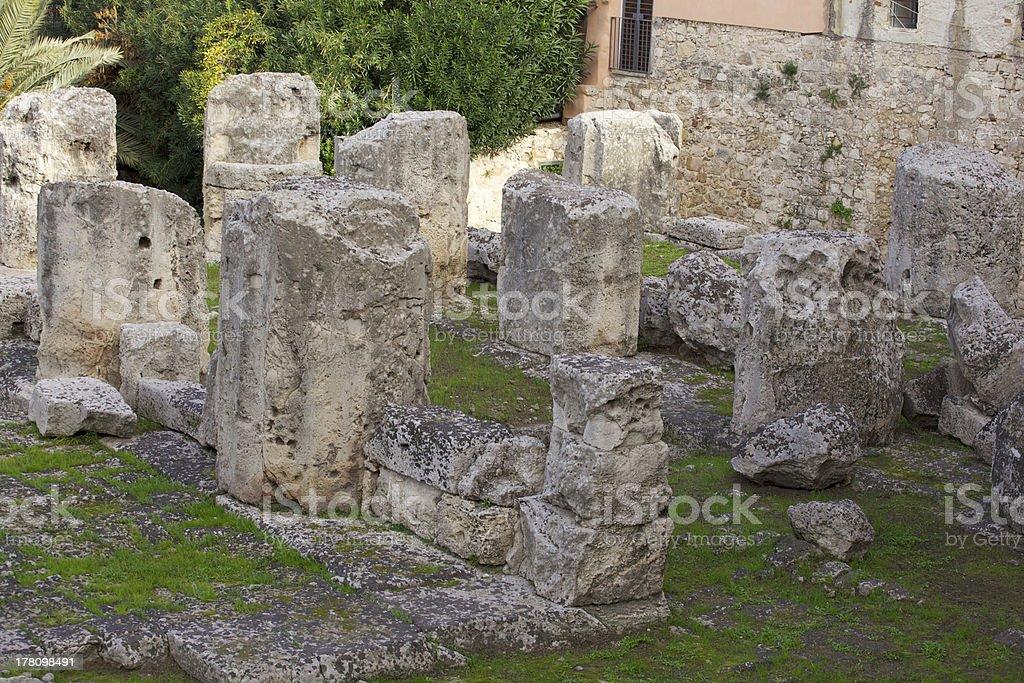 Apollo temple, Syracuse stock photo