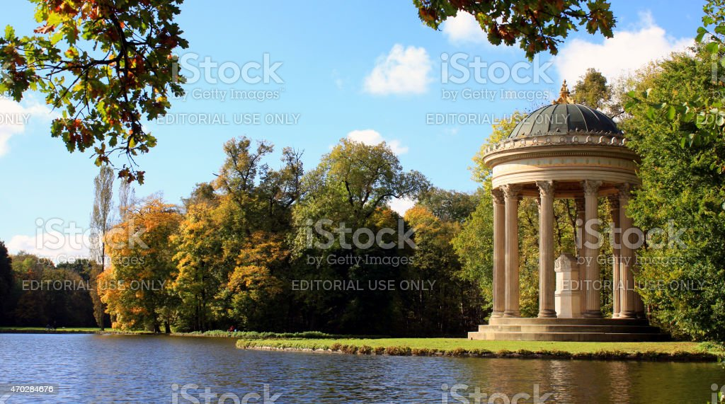 Apollo's Temple in the Park of Castle Nymphenburg stock photo