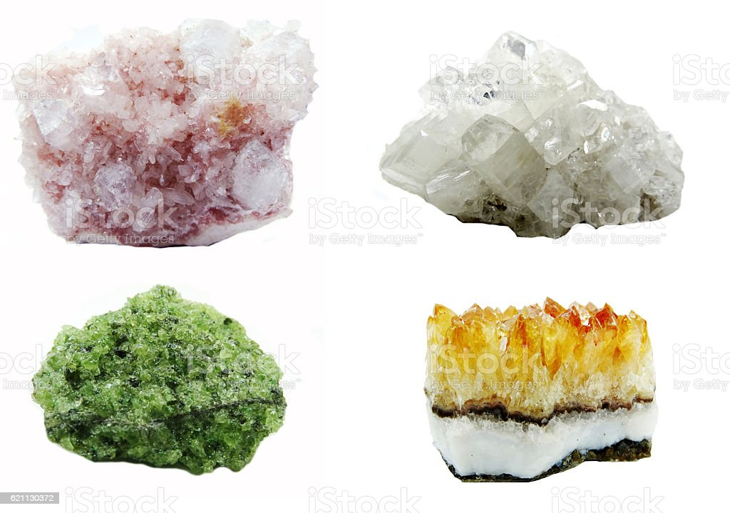 apophyllite geode geological crystals collage stock photo