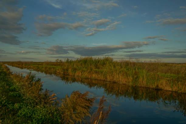 Apopka Wildlife Drive During a Vibrant Sunset in Central Florida Orlando USA stock photo