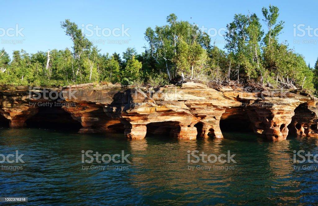 Apostle Islands cave stock photo