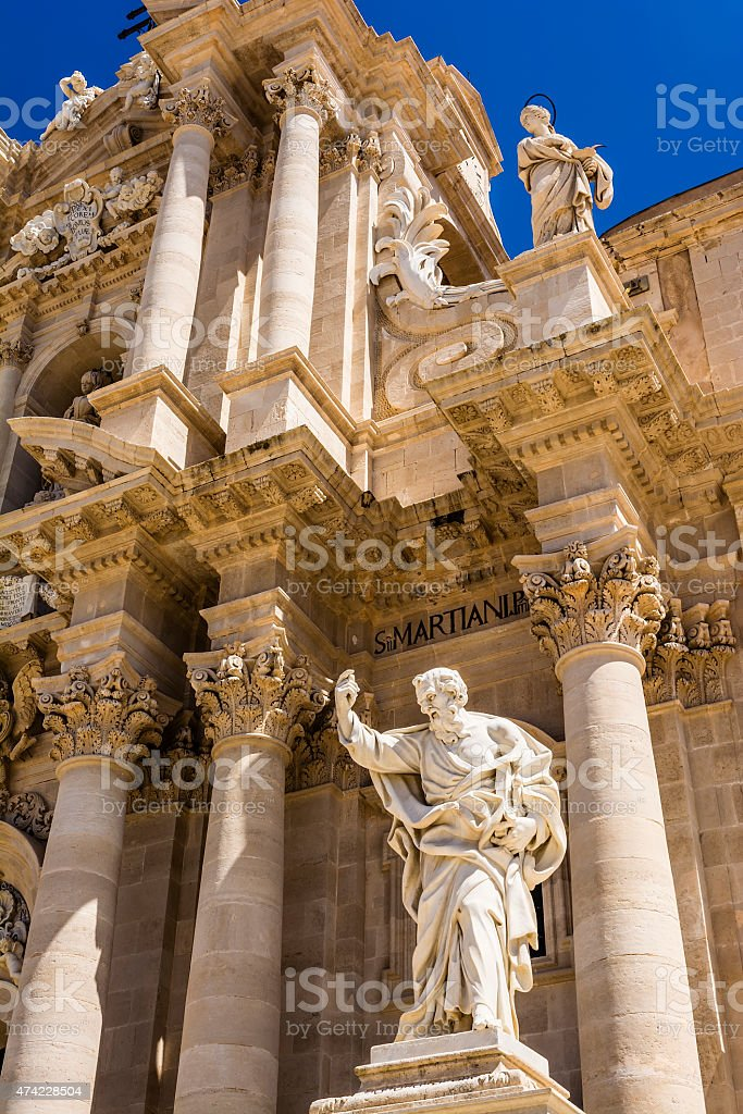 Apostle statue in Cathedral Church in Syracuse, Sicily stock photo