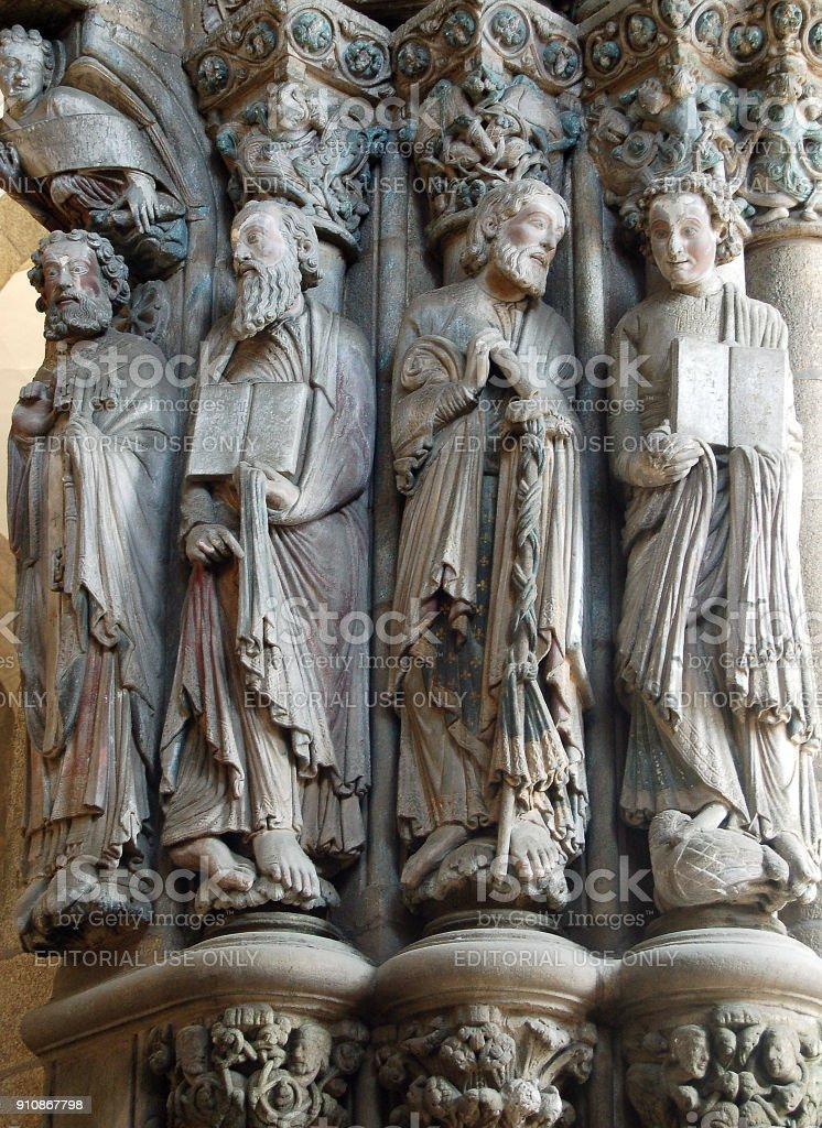 Apostles in the Gloria portal - Santiago de Compostela stock photo
