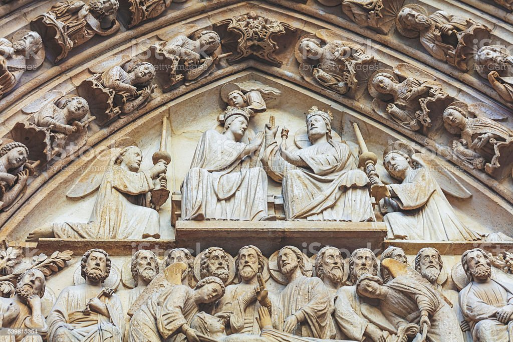 Apostles statue from Notre Dame portal stock photo