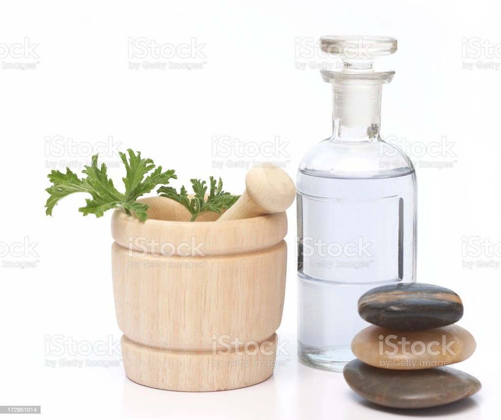 apothecary bottle, mortar and pestle royalty-free stock photo