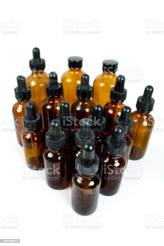 Apothecary glass jars stock photo