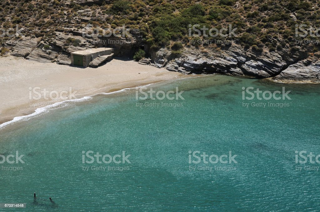 Apothikes Beach .Andros island. Cyclades, Greece. stock photo