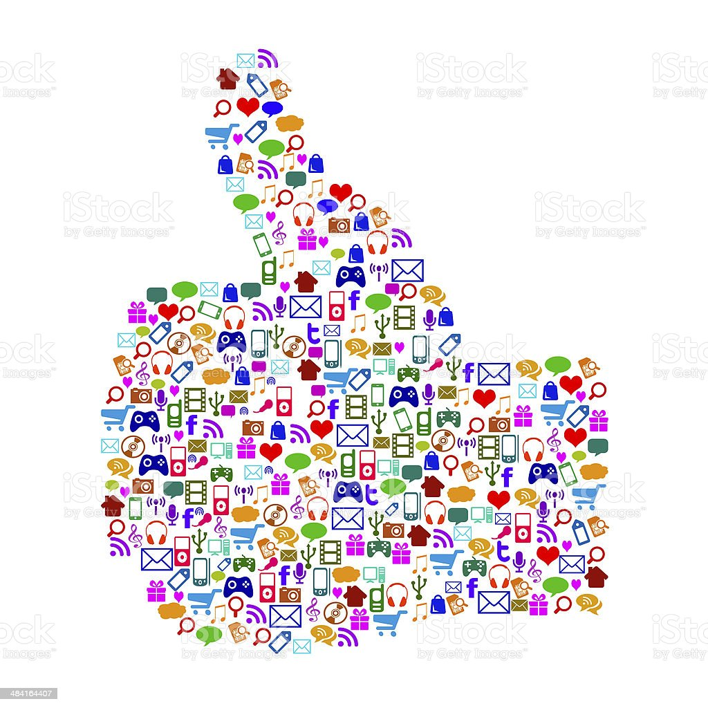 App and Internet icons form a thumbs up stock photo