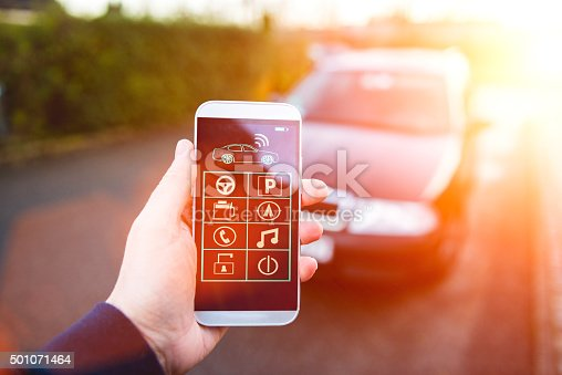 istock App connects to car and let user control it 501071464