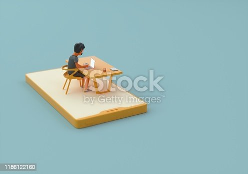 3d concept of the app developer who is sitting at the table with smart phone under him.