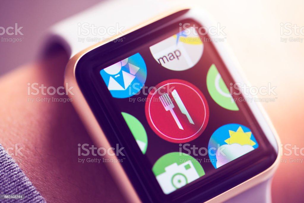 app icon on smart watch screen. royalty-free stock photo