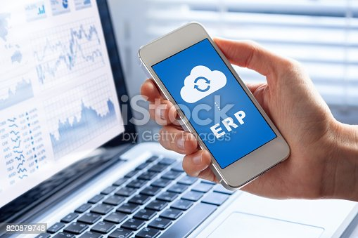 istock ERP app on smartphone screen connecting data with cloud computing 820879748
