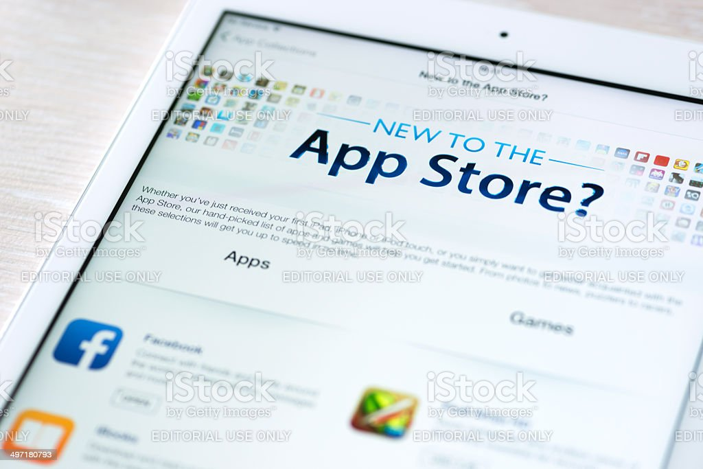 App Store features on Apple iPad Air stock photo