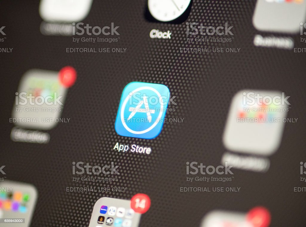 App Store icon on iphone 7 stock photo