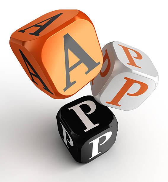apps wort auf orange, schwarz und weiß würfel spielzeug blöcke - kostenlose onlinespiele stock-fotos und bilder